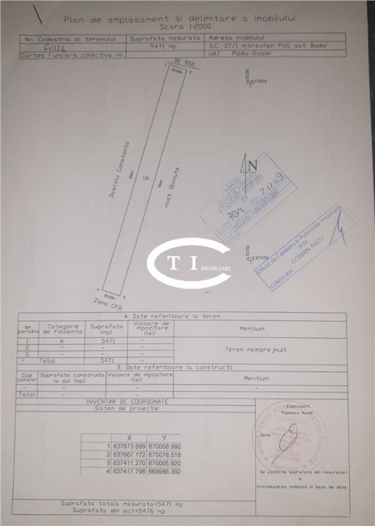 Teren 5471 mp, intravilan, 24 ml deschidere la E583, comision 0